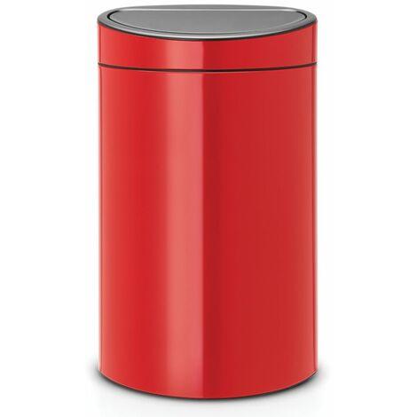 Brabantia Touch Bin New, 40 litres, seau intérieur plastique, Passion Red - 114960