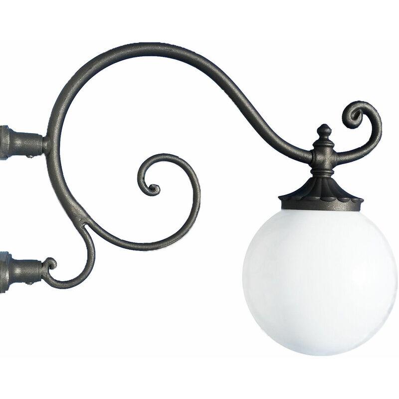 Braccio a muro ferro battuto applique mensola lampione da giardino grigio ghisa - FONDERIA BONGIOVANNI