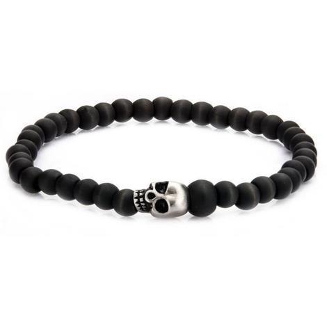 grand choix de regard détaillé magasin discount Bracelet Homme Avec Perles En Crâne En Acier Inoxydable Et Perles Carbone  Graphite. - Generique