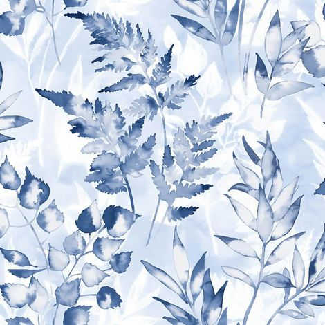 Bracken Floral Wallpaper Blue White Navy Watercolour Effect Holden Decor