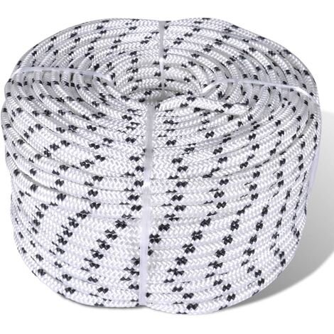 Braided Boat Rope Polyester 10 mm 250 m White