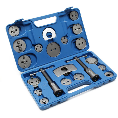 Brake Piston Rewind Tool Set 22pcs. with Adapter Plates for Various Car Brands