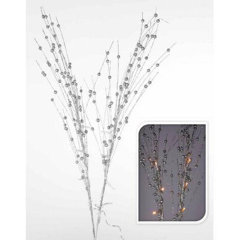 Branche décorative argentée 10 led 76cm