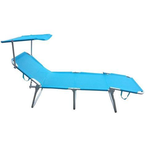 Lettino Pieghevole Campeggio.Brandina Pieghevole Campeggio Lettino Sdraio Azzurra Alta Con Tettuccio Per Spiaggia Mare Piscina Giardino
