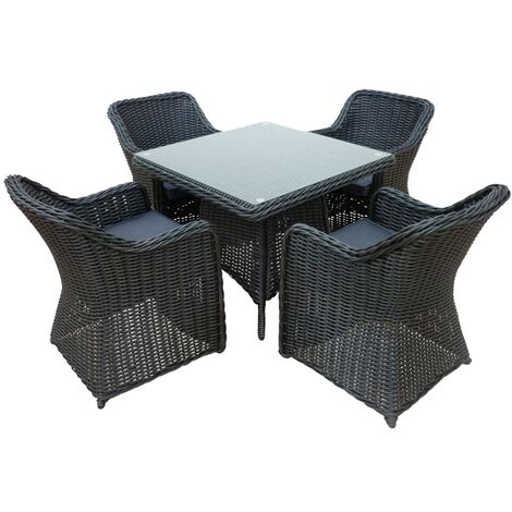 """main image of """"Branscombe Rattan 4 Seat Dining Set in Black with Grey Cushions"""""""