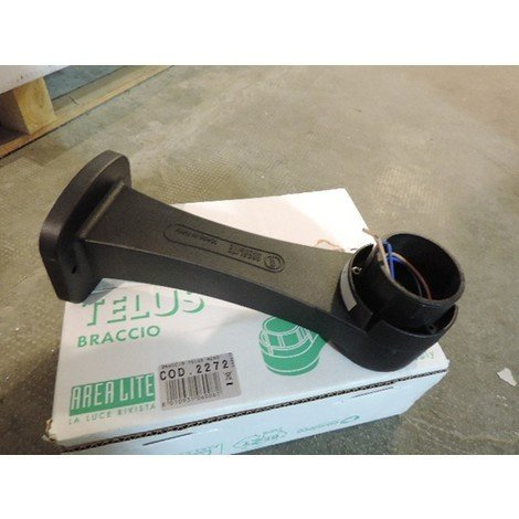 Bras de fixation noir pour supportage en applique du diffuseur extérieur LOTA avec câblage sans douille TRAJECTOIRE 004485