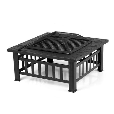 Brasero barbecue carré pour jardin et terrasse - IKAYAA - NOIR