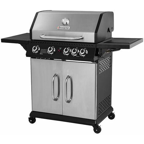 Brasero - Barbecue Perth Inox Brasero 4 Feux + 1 - Jusqu'à 12 convives - Surface de cuisson 70 x 42 cm - 2 Tablettes dont 1 brûleur latéral - Jauge de température - Récupérateur de graisse - 14,5 kW