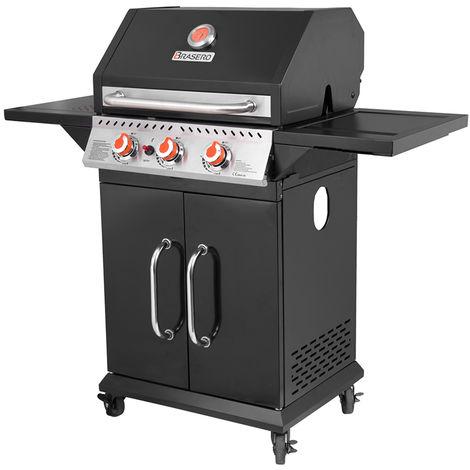 BRASERO- Barbecue Perth Noir 3 Feux à Gaz - 9 kW