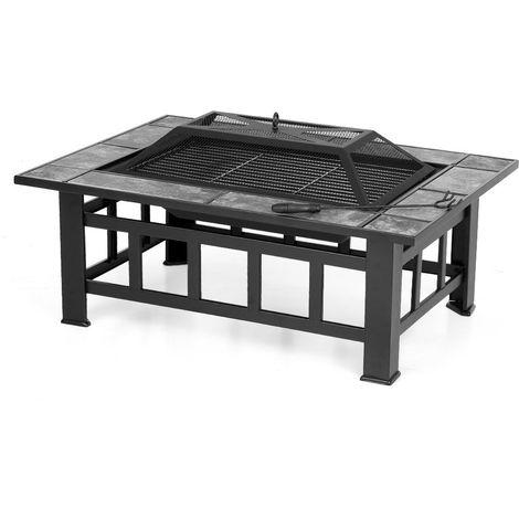 Brasero barbecue rectangulaire pour jardin et terrasse - iKayaa - Noir