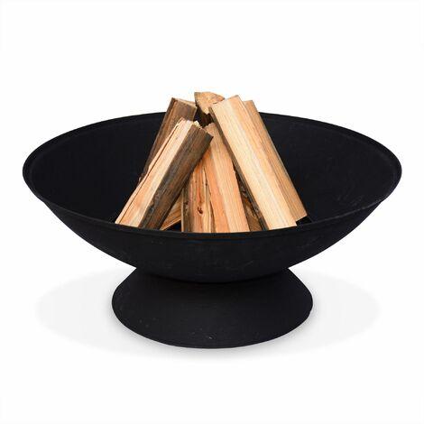 Braséro bois Ø56cm - Etna noir, panier à bûches, brasier