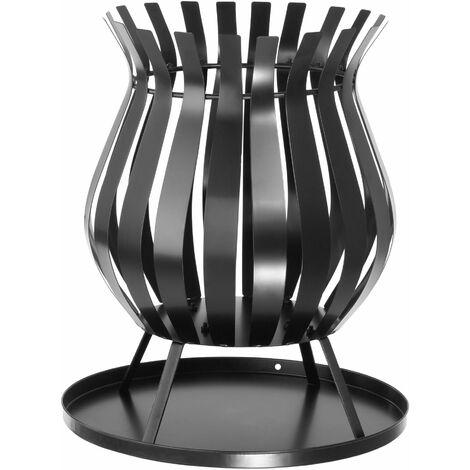 Brasero - brasero de acero para jardín, brasero de exterior con bandeja colectora, cesto para hoguera en patio para carbón vegetal - negro