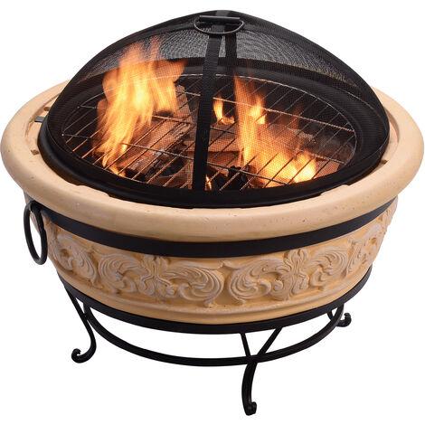 Braséro chauffage d'extérieur 68cm foyer à bois avec grille à charbon BBQ couvercle de protection tisonnier Peaktop HR26303AA-S