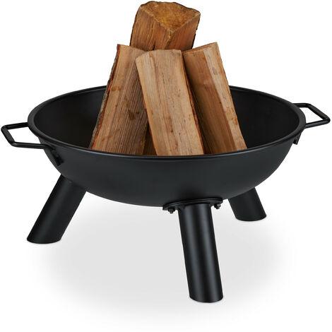 Brasero de jardin, Ø 44 cm, cheminée ronde pour jardin et terrasse, bac à feu en fer, avec poignées, noir