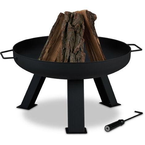 Brasero de jardin, Ø 60 cm, tisonnier inclus, pour la terrasse, bac à feu en acier, rond, grand foyer, noir