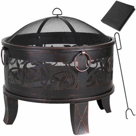 Brasero de Jardin Acier rond Ø 67cm noir-bronze 4 anneaux de transport Barbecue Jardin été feu Bois extérieur Vacances Camping Foyer