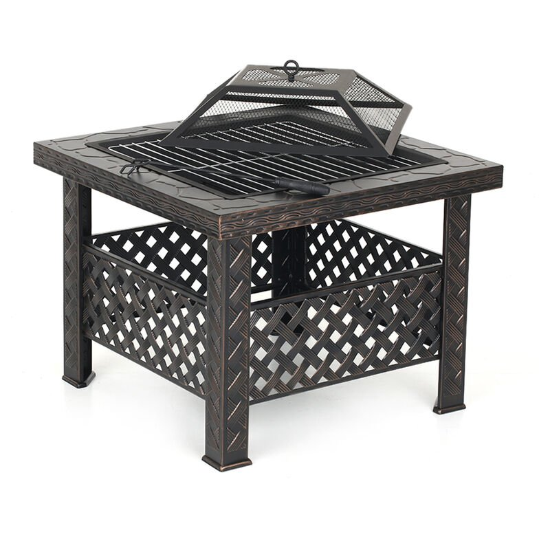 Ikayaa - Brasero de jardin de plage en fer materiel de table type brasero d'hiver exterieur avec filet de barbecue