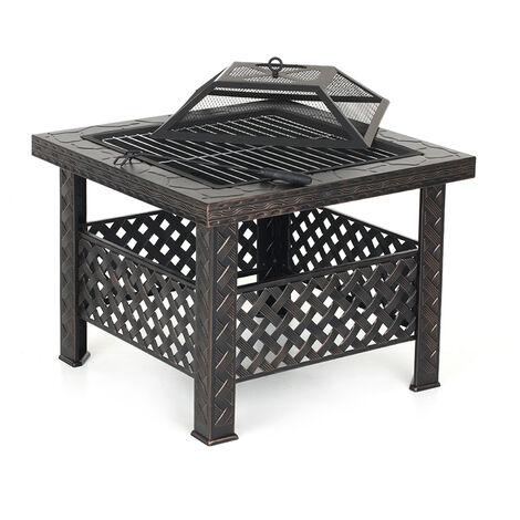Brasero De Jardin En Metal, Avec Couvercle De Foyer Et Poker + Barbecue Grill