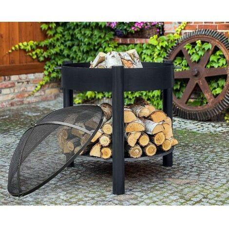 Brasero de jardin SOLAFA XL avec range bois en acier noir - Avec pare-feu - Avec pare-feu