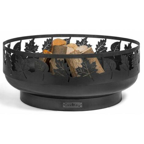 Brasero de jardin TORONTO décoré feuille en acier noir Ø80 cm - Avec plaque de cuisson - Avec plaque de cuisson