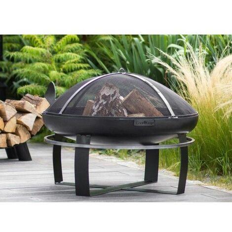 Brasero de jardin VIKING en acier noir 60, 70 et 80cm - Avec couvercle - Avec couvercle