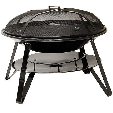 Braséro d'extérieur à charbon de bois en acier - Dim : 83,5 x 83,5 x 56,3 cm
