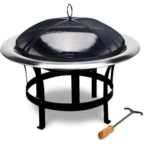 """main image of """"Brasero en acier inoxydable rond jardin extérieur avec grille Ø 75cm Foyer Ø 75 cm"""""""
