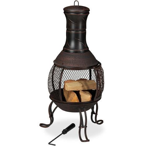 brasero mexicain, tisonnier, gril en bois, pare-étincelles, jardin, terrasse, antique, H 89 cm, rouge-bronze