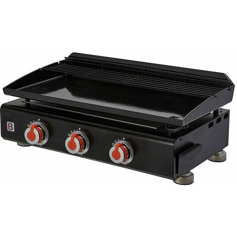 Brasero - Plancha Silvia II G 3 feux Brasero - Surface cuisson 67 x 34 cm - 3 brûleurs - Plaque acier émaillée - Grille de réchauffement - Piezo intégré - Tiroir graisse - Jusqu'à 10 convives - 7,5 kW