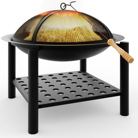 Braséro rond 55cm - avec grille et tisonnier - barbecue chauffage extérieur