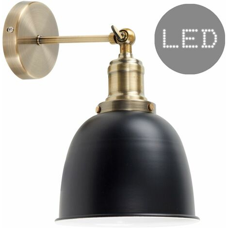 Brass Adjustable Wall Light + Black Shade + 4W LED Filament Bulb - Warm White