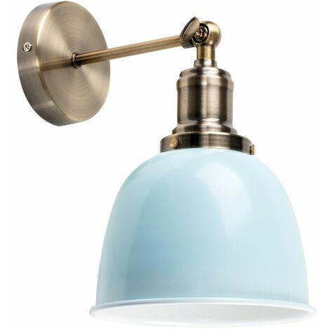 Brass Adjustable Wall Light + Duck Egg Blue Shade + 4W LED Filament Bulb - Warm White