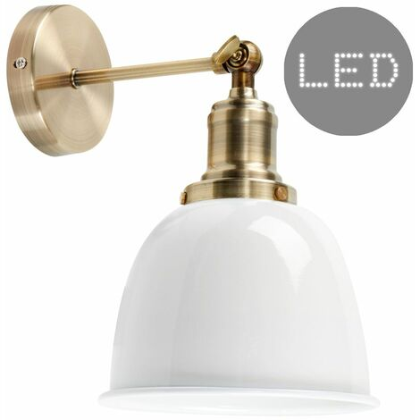 Brass Adjustable Wall Light + White Shade + 4W LED Filament Bulb - Warm White