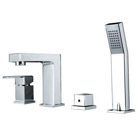 "main image of ""Brass bath-shower mixer tap on chrome-plated deck - Bergamo"""