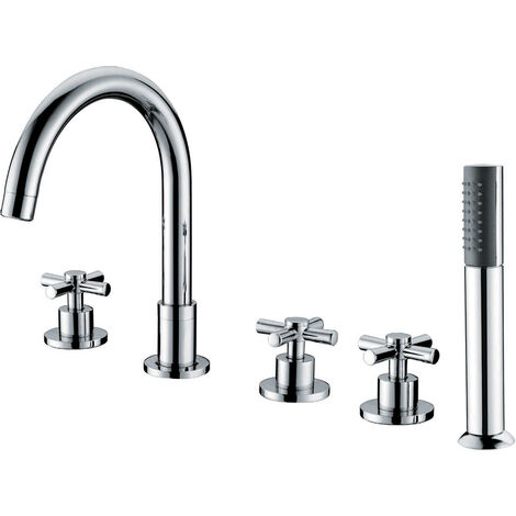 """main image of """"Brass bath-shower mixer tap on chrome-plated deck - C�falu"""""""
