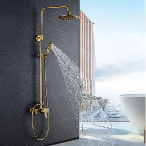 "Brass Bathroom Shower System, Round Shower Mixer, with 8"" Shower Head and 2"" Hand Held Shower, Rod Extendable 37-53"""