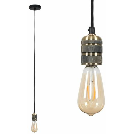 Brass Ceiling Lampholder - 4W LED Filament Light Bulb Warm White