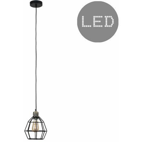 Brass Ceiling Lampholder + Black Shade 4W LED Filament Light Bulb - Warm White