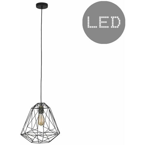 Brass Ceiling Lampholder + Geometric Black Shade 4W LED Filament Light Bulb - Warm White
