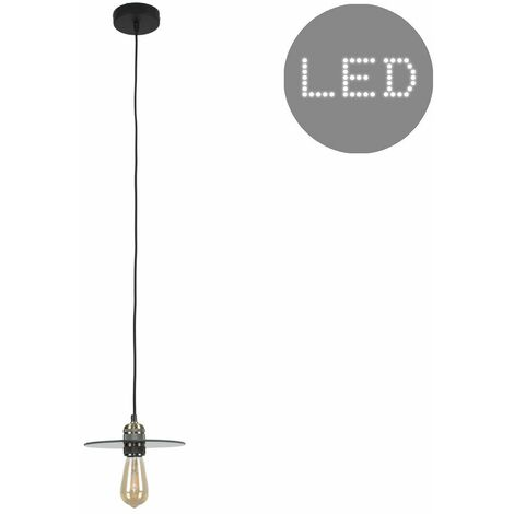 Brass Ceiling Lampholder + Smoked Glass Shade 4W LED Filament Bulb - Warm White
