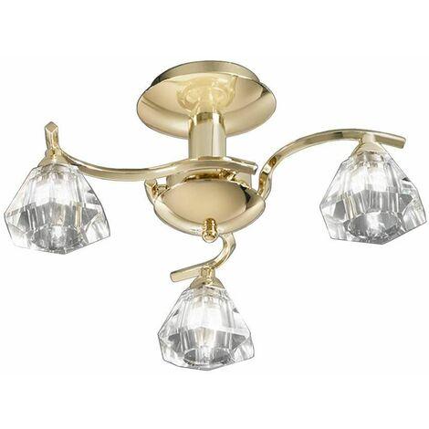 Brass ceiling light in crystal Twista 3 Bulbs
