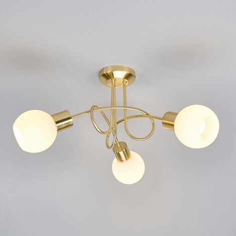Brass coloured LED ceiling light Elaina, 3-bulb