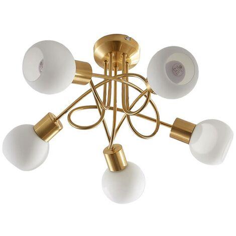 Brass coloured LED ceiling light Elaina, 5-bulb