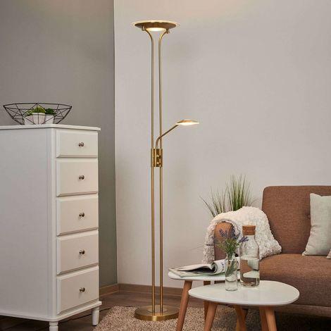 Brass-coloured LED floor lamp Aras, reading light