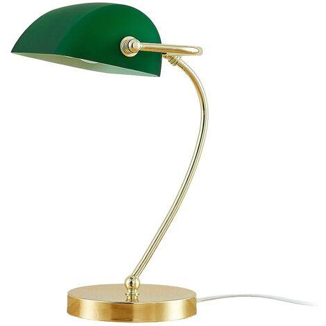 Brass-coloured table lamp Selea, green glass shade