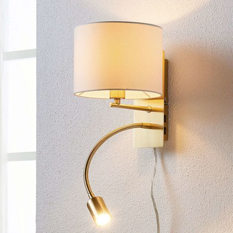 Brass-coloured wall lamp Florens LED reading light