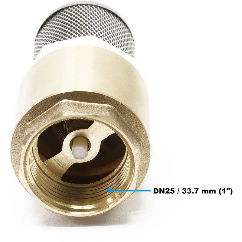 26,16mm Check Valve Non Return with Stainless Strainer f.Pump Brass Foot Valve 3//4