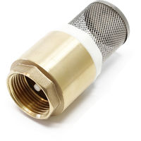 "Brass Foot Valve 1"""" 33,7mm Check Valve NON Return with stainless strainer for pump"