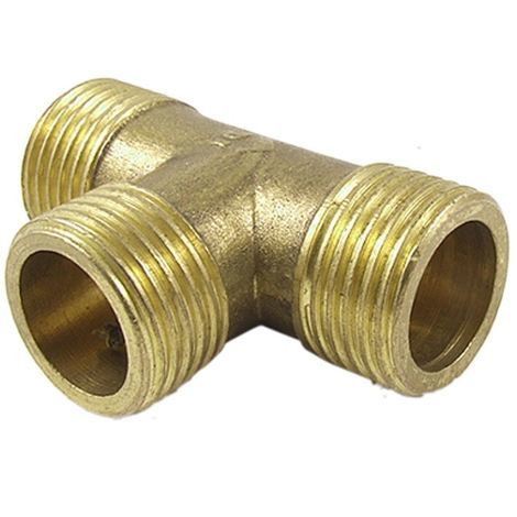 Brass T Shape Water Fuel Pipe Male Tee Adapter Connector 1 inch BSP Thread
