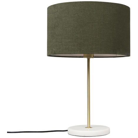 Brass table lamp with green shade 35 cm - Kaso